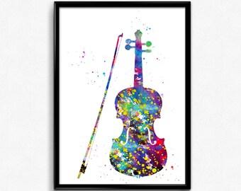 Violin, Colorful Watercolor Room Decor, gift, Printable Wall Art (666)