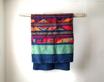 BRIGHT vintage SOUTHWEST 7 foot rug wool throw Blue DENIM & brightly colored navajo ikat print rug throw