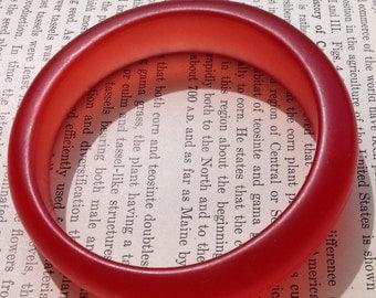 Vintage Red Translucent Lucite Bangle Bracelet