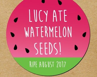 Personalized Baby Shower Stickers, Watermelon Seeds Baby Shower Favor Stickers