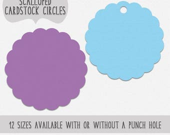 Cardstock Scalloped Circles for Gift Tags DIY Crafts Paper Flowers 12 Sizes Available Colored Paper Circle With Hole or Without Set of 40