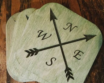 Cardinal Directions/Travel Coasters - Set of 4