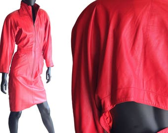 Vintage 80s Red Italian Leather Bodycon Dress  from Baldini  Size Medium