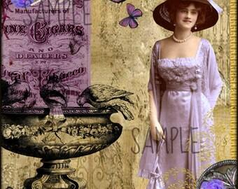 Vintage Lady, Purple Collage Altered Art Ephemera Altered Art, Instant Download, Digital Original Sheet