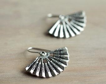 Japanese fan earrings | Exotic antique earrings | Oriental fan sterling silver earrings | Chinese earrings | Asian earrings | Hypoallergenic