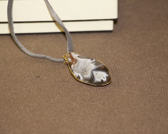 Silver Geode with Gold Plated Rope Necklace