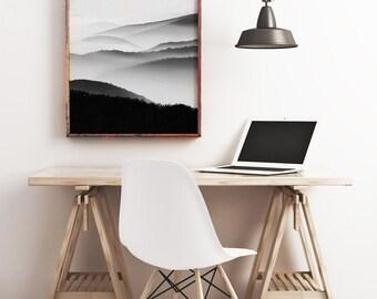 Mountain Print, Fog Wall Art, Living Room Decor, Mountain Photo Wall Art, Mountain Print, Modern Photography Wall Art, Black and White Print