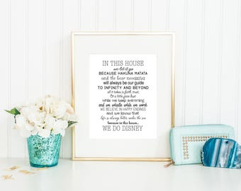 We Do Disney Print, Disney Quote Print, In this house we do Disney, Disney Family, Printable Disney Art, Family, Instant Download, Digital