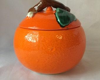 Vintage French Orange Pottery Bowl w/Lid - Stamped AEGITNA VALLAURIS