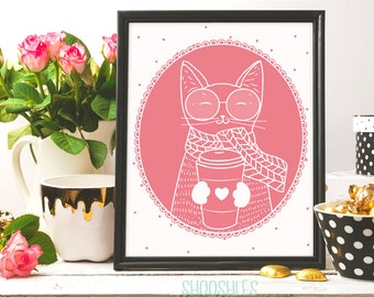 Cat Coffee, Cat printable art, coffee print, Cup of coffee, Cat Wall art, instant download, cat drawing, Pink Cat, cat lovers, coffee lovers