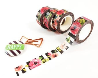 Striped Floral Washi Tape