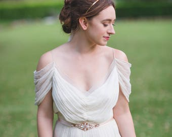 Enchanted Halo Crown   Natural Raw Crystal Bridal Tiara    Handmade White Quartz and Gold Wedding Accessories   Fanciful and Elegant