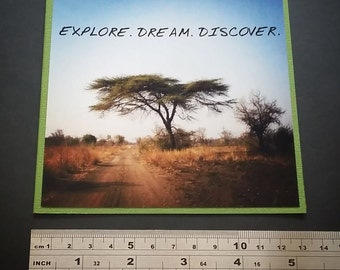 On Sale** EXPLORE DREAM DISCOVER Handmade Travel Card, A Square 5 inch Blank Card,Edited Photography, something different.