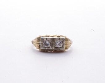 Mid-century 14K Yellow and White Gold Diamond Ring