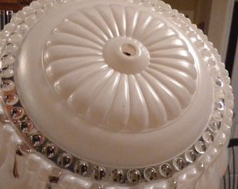 Vintage Ceiling Lighting Globe/Hobnail/Scalloped edge/Cream/off White/Midcentury/1940s/Victorian remodel/Shabby Chic