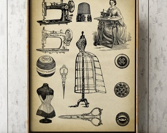Dressmaker print, Dressmaker tools poster,  women's clothes creation, tailor, seamstress, needlewoman, clothier, couturier, sewing machine