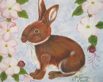 BUNNY Painting DECOR Girls Room ART Cute Bunny Rabbit Art Bunny and Flowers Painting Child's Room Art Rabbit Decor Garden Pastel Art Canvas.