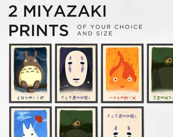 Combo Pack Any 2 Miyazaki Prints, Studio Ghibli Prints, Posters, Spirited Away, Howl's Moving Castle, Castle In The Sky, My Neighbor Totoro