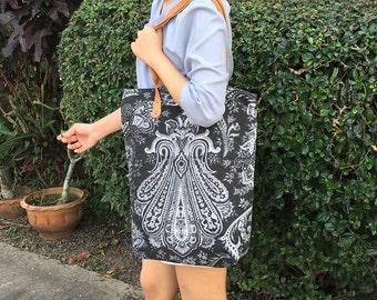 Boho Shoulder Bag Leather Strap With Screen Fabric