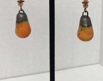 Porcelain, Carnelian and Hematite Earrings