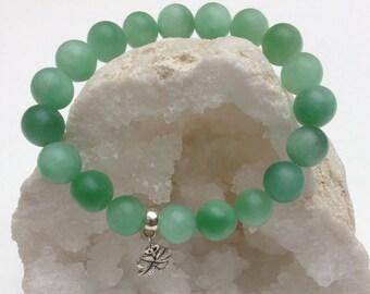 Bracelet women/girl semi-precious stones amazonite green with charm 4-leaf clover