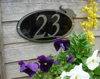 Stainlees Steel Cat House Number - Oval