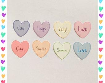 Heart stickers / kawaii stickers / love heart stickers / cute stickers / sticker flakes / sticker packs