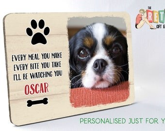 Personalised Pet, wooden photo display panel, Every Bite You Take, pet photo plaque, Dog Lovers