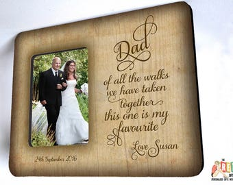 Personalised Walk with Dad Photo Frame, 10 x 8 picture Frame, Custom Photo Frame, Wedding Thank You, ,Parents Wedding Gift, Dad Thank You