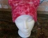 Pink fleece pussy hat, beanie, women's march hat, polar fleece, pink camo like, feminism, girl power