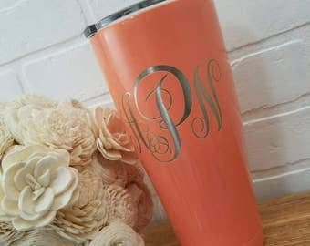 Monogram Tumbler - Vacuum Insulated Cup - Stainless Steel Tumbler - Hot Cold Cup - Personalized Gift - SIC Cup - Engraved Tumbler - Custom