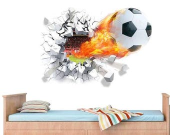 Football 3D Wall Decal, Soccer Wall Decal, 3D Wall Decals, Vinyl Wall Decals, Wall Art Stickers, Football Wall Sticker, 3D Wall Decal