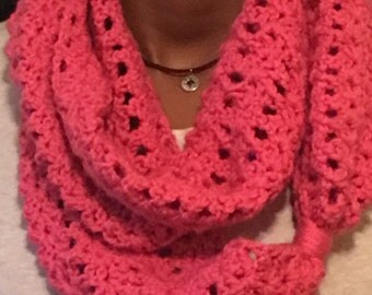 Hot Pink Crocheted Infinity Scarf, Ready to ship