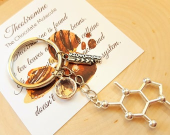I Love Chocolate Theobromine Molecule Chemistry Science Nerdy Food Chocoholic Gift Keychain