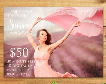 Summer Mini Session Template, PSD, Photoshop Template, Photography Marketing Board, Instant Download, Template for Photographers, Advertise