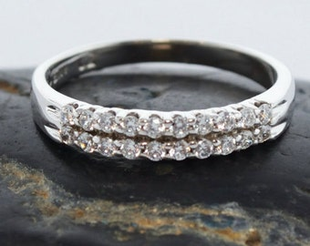 10KT white GOLD DOUBLE SHARE prong ring with cubic zircon,wedding band,anniversary ring, proposal ring