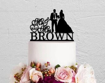 Wedding Cake Topper,Bride And Groom Cake Topper,Custom Cake Topper With Date,Mr And Mrs Cake Topper,Last Name Cake Topper