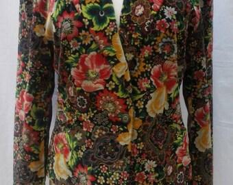 KENZO JEANS vintage 80s floral velvet jacket