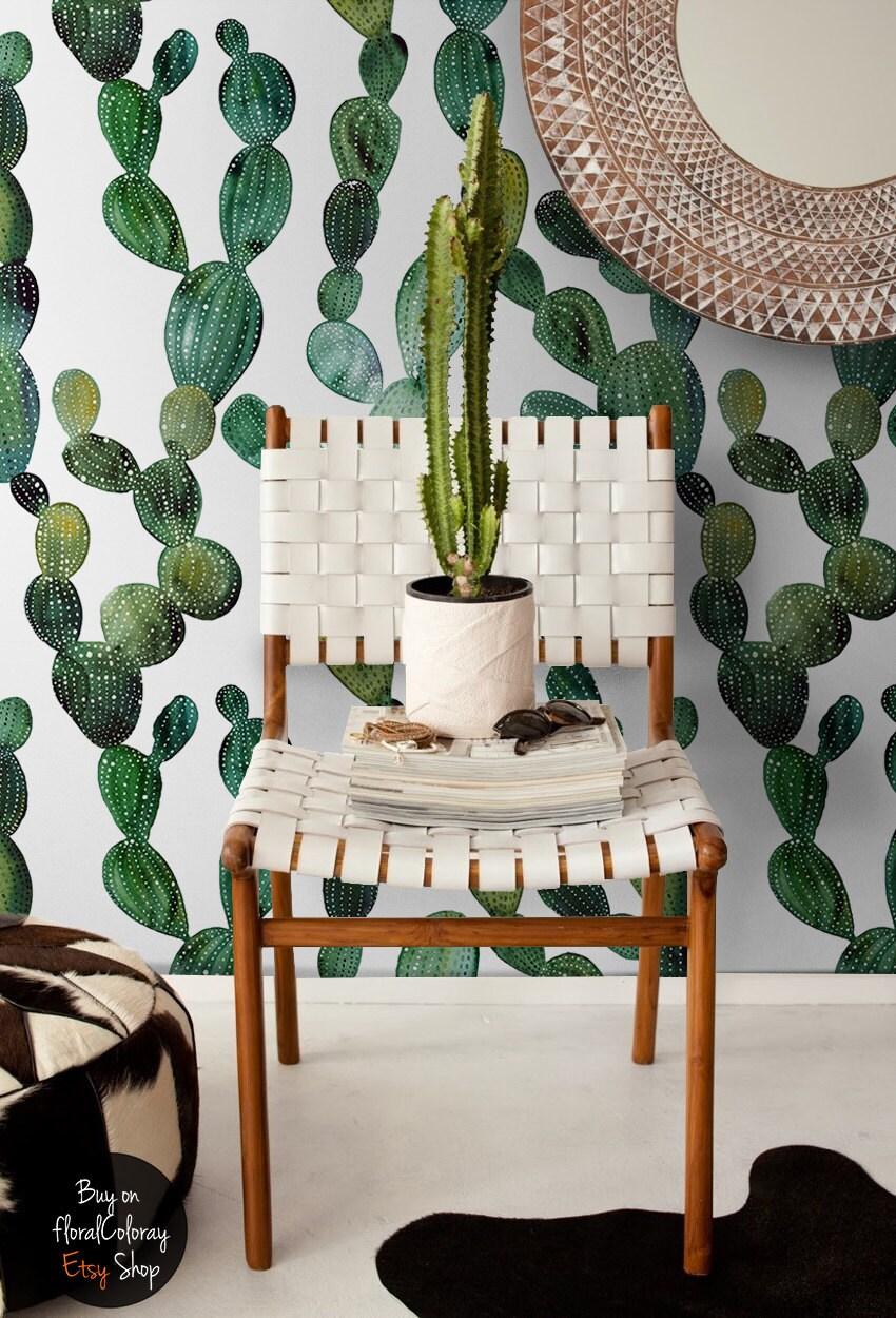 green cactus wallpaper boho style wall mural cactus decal zoom