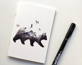 A6 Notebook | Bear Notebook | Notebook | Pocket Notebook | Plain Notebook | Bear Illustration | Notepad | Illustrated A6 Notebook | Journal