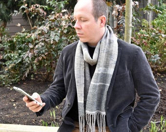 Mens Wool Scarf - Winter Scarf - Hand Woven Scarf - Grey Scarf - Striped Scarf - Hand Made Scarf - Gift for Him - Gift for Boyfriend - Scarf