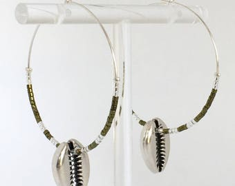 Cowrie shell earrings, Silver plated cowrie hoop earrings and green beads, Silver earrings, Green hoops, Green earrings, Cowrie Shell, Gift