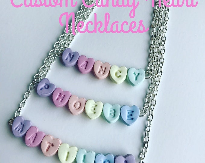 Personalised Custom Candy Heart Custom Name Necklace in Pastel Rainbow Colours