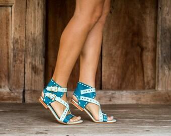 Women's leather sandals / Women's sandals / Women's shoes / Summer shoes / Flat shoes / Sandals