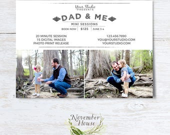 Fathers Day Template, Dad and Me Mini Sessions, Daddy and Me Template, Father's Day Marketing Board, Photography Marketing, Instant Download
