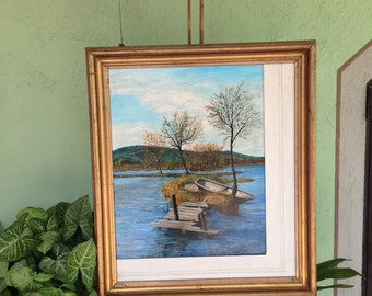 boat painting, oil painting, lake painting