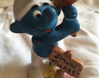 Hefty Smurf - Porcelain figurine 80's