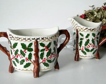 Vintage, Creamer, Sugar Bowl, Set, Christmas, Holiday, Kitchen and Dining