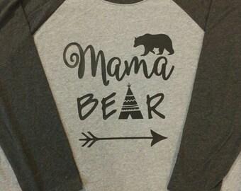 Mama Bear baseball raglan tee shirt