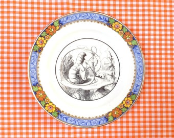 Caterpillar Alice in Wonderland Vintage Plate